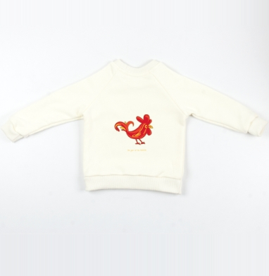 Cвитшот Детский Экрю 320гр, стандарт - Огненный петушок