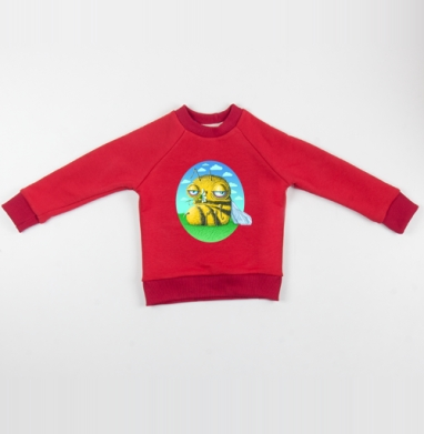 Пчела с ромашкой - Cвитшот Детский красный 340гр, теплый, Популярные