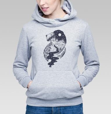 Таинственный лев - Толстовка Женская серый меланж 340гр, теплая, Купить толстовки победителей
