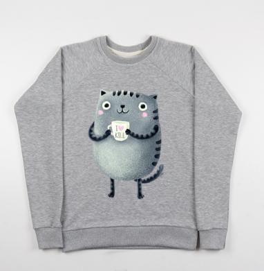Кот I♥kill - Купить мужские свитшоты серые в Москве, цена мужских свитшотов серых с прикольными принтами - магазин дизайнерской одежды MaryJane