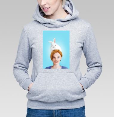 Алиса, следуй за белым кроликом - Толстовка Женская серый меланж 340гр, теплая, Популярные