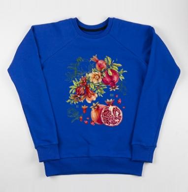 Гранат. Ботаническая акварель - Cвитшот женский, синий 320гр, стандарт, Популярные