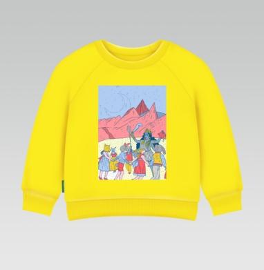 Розовые холмы, Cвитшот Детский желтый 240гр, тонкая