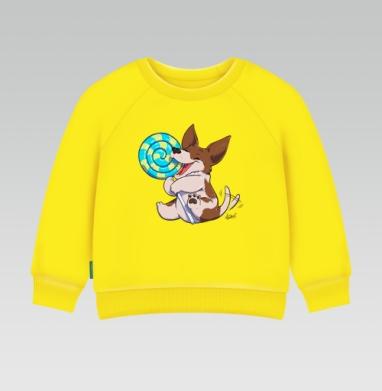 СЛАДКИЕ СОБАЧКИ - леденец, Cвитшот Детский желтый 240гр, тонкая