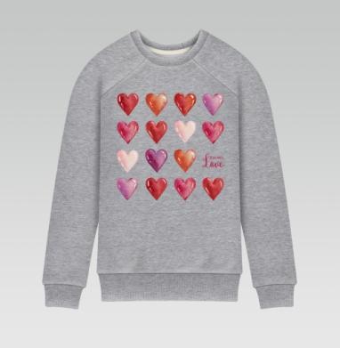 Всё что нам нужно - это только любовь - Cвитшот женский серый-меланж 240гр, тонкий, Популярные