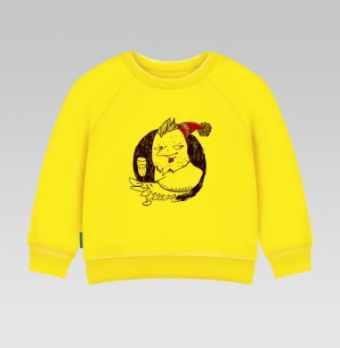 Огненый , Cвитшот Детский желтый 240гр, тонкая