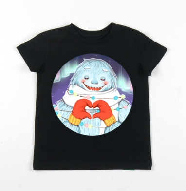 Детская футболка черная хлопок с лайкрой 140гр - Новогодний снежночел