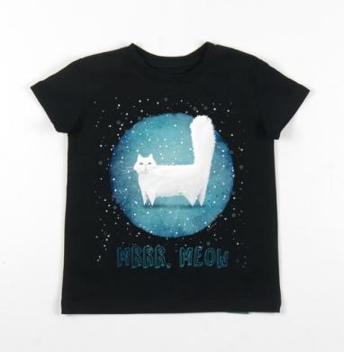 Детская футболка черная хлопок с лайкрой 140гр - Снежный кот