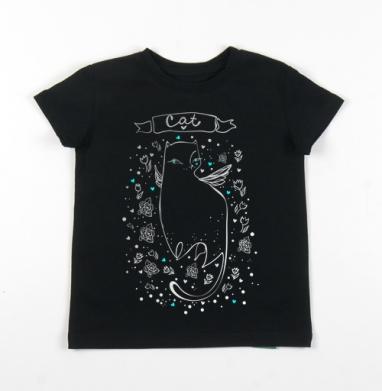 Детская футболка черная хлопок с лайкрой 140гр - Зеленоглазая ...