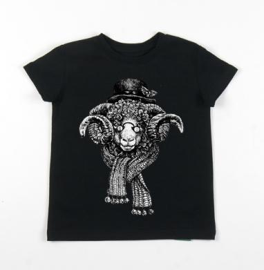 Детская футболка черная хлопок с лайкрой 140гр - Бараш
