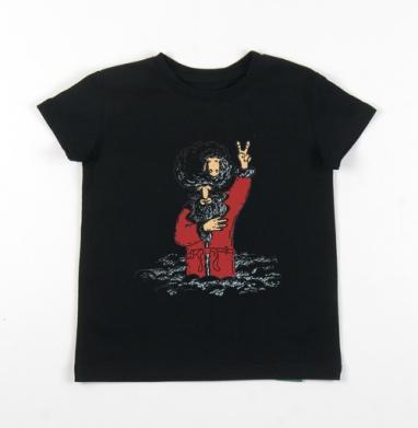 Детская футболка черная хлопок с лайкрой 140гр - Дедушка Мороз
