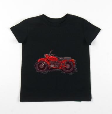 Детская футболка черная хлопок с лайкрой 140гр - Красный мотоцикл