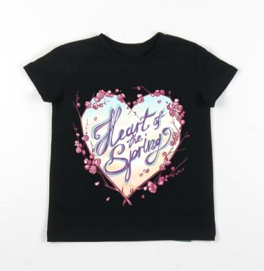 Детская футболка черная хлопок с лайкрой 140гр - Сердце весны