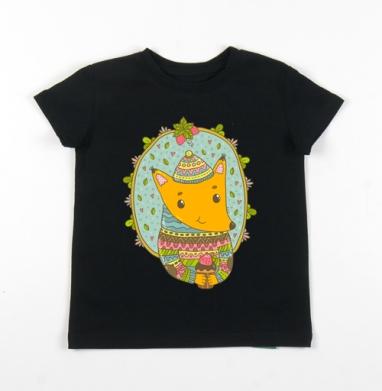 Детская футболка черная хлопок с лайкрой 140гр - Сладкоежка мистер лис