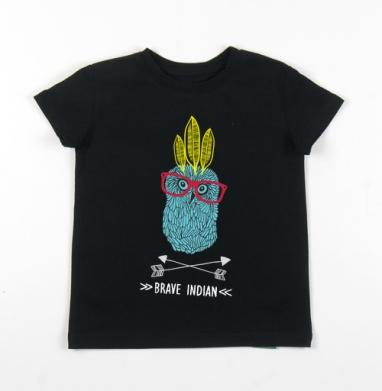 Детская футболка черная хлопок с лайкрой 140гр - Смелый индеец.