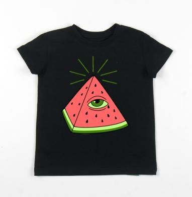 Детская футболка черная хлопок с лайкрой 140гр - ВСЕ ВИЖУ