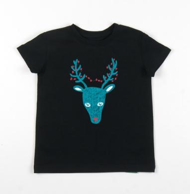 Детская футболка черная хлопок с лайкрой 140гр - Christmas deer