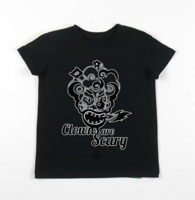 Детская футболка черная хлопок с лайкрой 140гр - Clowns are Scary