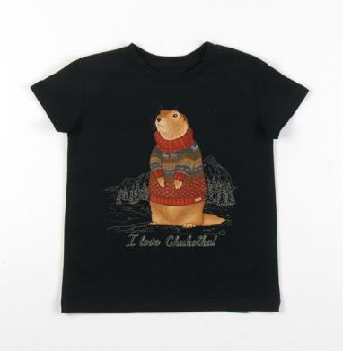 Детская футболка черная хлопок с лайкрой 140гр - Евражка в свитере