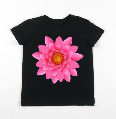 Детская футболка черная хлопок с лайкрой 140гр - Лотос - символ чистоты