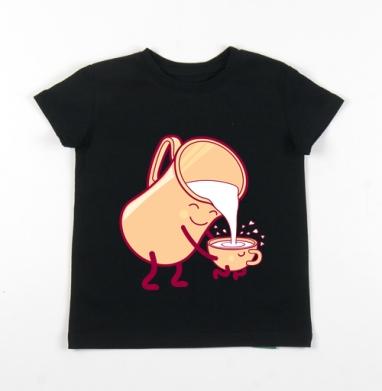 Детская футболка черная хлопок с лайкрой 140гр - MILK