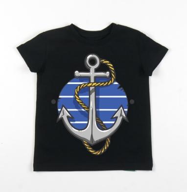 Детская футболка черная хлопок с лайкрой 140гр - Море волнуется раз