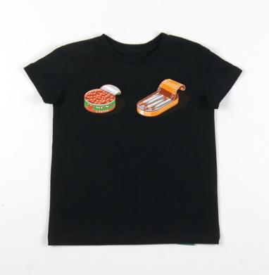 Детская футболка черная хлопок с лайкрой 140гр - Мужская икра и шпроты