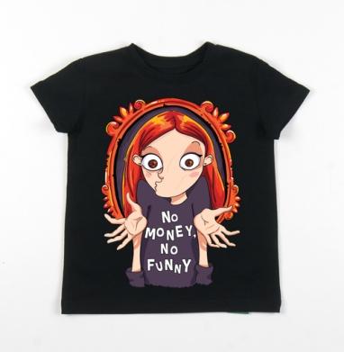 Детская футболка черная хлопок с лайкрой 140гр - No money