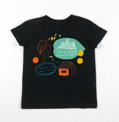 Детская футболка черная хлопок с лайкрой 140гр - Осенний микс