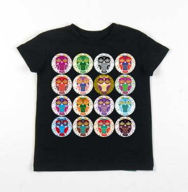 Детская футболка черная хлопок с лайкрой 140гр - Owls owls 2