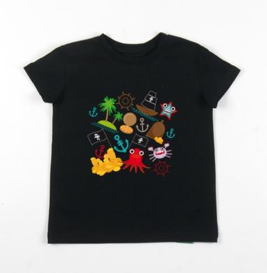 Детская футболка черная хлопок с лайкрой 140гр - Пираты