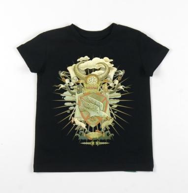 Детская футболка черная хлопок с лайкрой 140гр - По следам монти пайтона