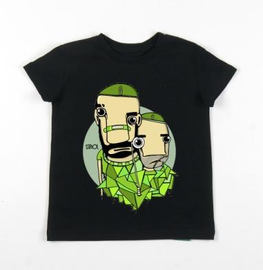 Детская футболка черная хлопок с лайкрой 140гр - Soldiers