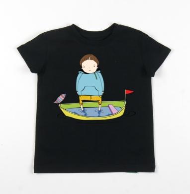 Детская футболка черная хлопок с лайкрой 140гр - В лодке