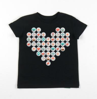 Детская футболка черная хлопок с лайкрой 140гр - Valentine's day