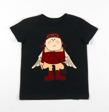 Детская футболка черная хлопок с лайкрой 140гр - Flying Dutchman 2