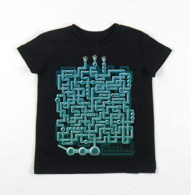 Детская футболка черная хлопок с лайкрой 140гр - Приключение дымка)