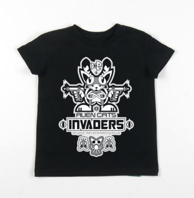 Детская футболка черная хлопок с лайкрой 140гр - Захватчики