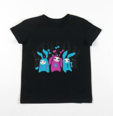 Детская футболка черная хлопок с лайкрой 140гр - Зайцы всегда в тему