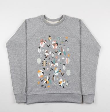 Геометриксуккулентс - Cвитшот женский серый-меланж 340гр, теплый, Популярные