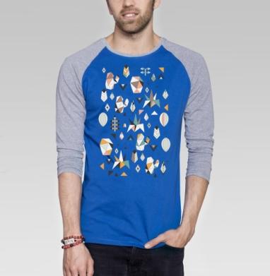 Геометриксуккулентс - Футболка мужская с длинным рукавом синий / серый меланж, Графика