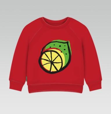 Cвитшот Детский ярко-красный 240гр, тонкий - Цитрусовый всплеск
