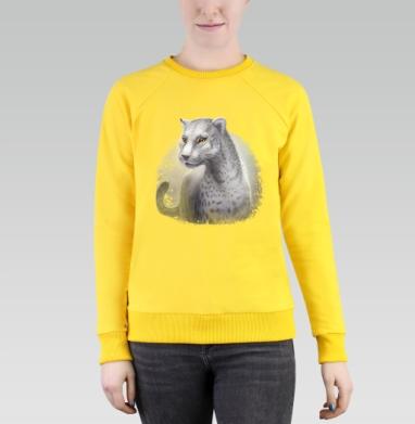 Серый леопард, Cвитшот женский, желтый 240гр, тонкий