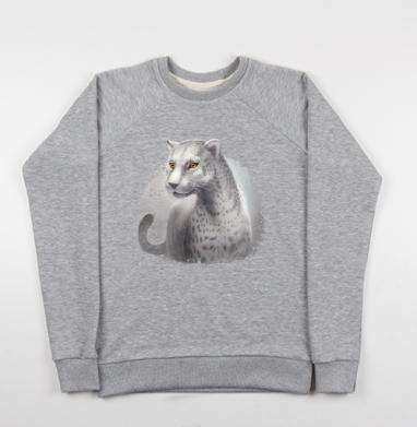 Серый леопард, Свитшот мужской серый-меланж 240гр, тонкий