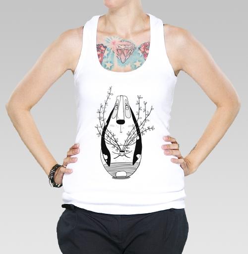 Футболка —  Бассет с цветком от gipgip | maryjane.ru - дизайнерские футболки
