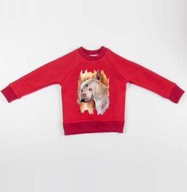 Бультерьер - Cвитшот Детский красный 340гр, теплый, Популярные