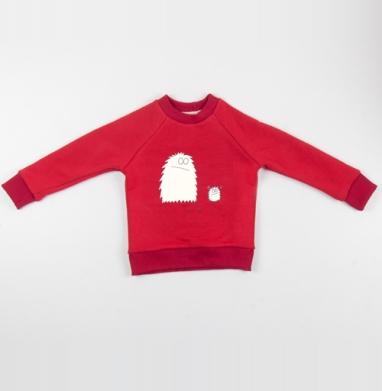 Cвитшот Детский красный 340гр, теплый - И чо
