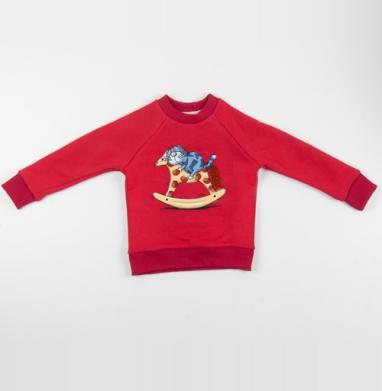 Cвитшот Детский красный 340гр, теплый - Кот в сапогах