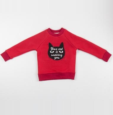 Cвитшот Детский красный 340гр, теплый - Кото- шпион