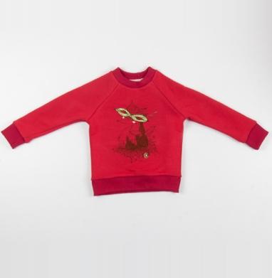 Cвитшот Детский красный 340гр, теплый - Лиска в маске